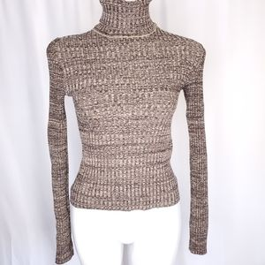 WOW brown marled turtleneck sweater sz L